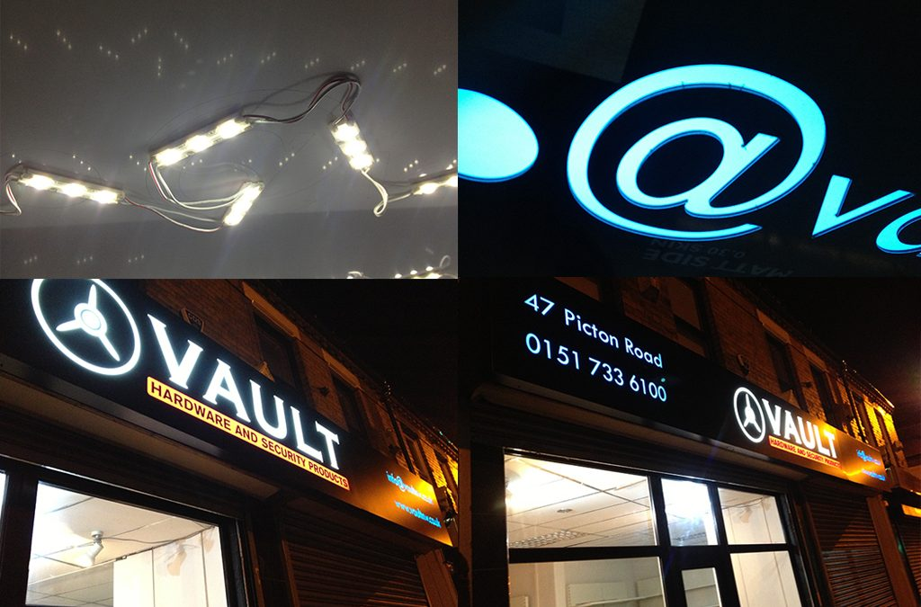 Illuminated Shop Sign for Vault