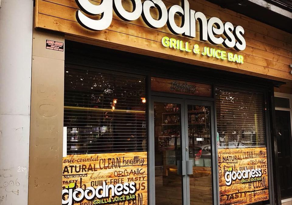 Built up LED illuminated logo for Goodness Grill & Juice Bar